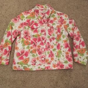 Liz Claiborne woman floral denim jacket size 1X